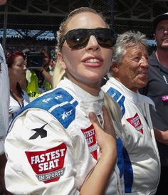 Lady Gaga wears A03050 sunglasses at the 100th Indy500