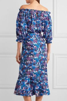 Saloni - Grace Off-the-shoulder Floral-print Silk-crepe Dress - Blue - UK
