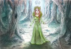 A watercolor illustration I made as a personal project while practicing book illustration in general. Mielikki is an ancient goddess of the forest in Finland. Here she is wondering what's happening around her - maybe she has come back after a long time and sees how this world has changed... :) Not into a better place, obviously.
