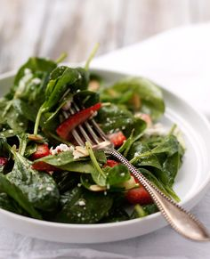 Strawberry Spinach Salad with Almonds and Goat Cheese.