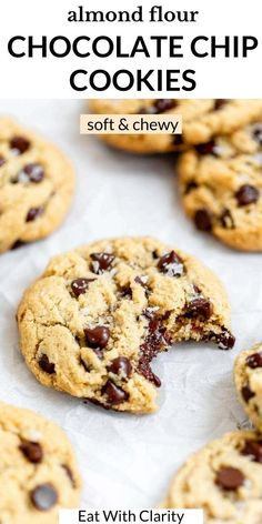 Paleo or not, these are the BEST chocolate chip cookies ever. They're made with almond flour so they're grain free, gluten free but so soft and chewy. Studded with chocolate chips, perfectly crispy on the outside but soft and buttery on the inside. These are a classic and foolproof chocolate chip cookie! #almondflourchocolatechipcookies #paleocookies