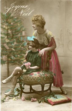 Original French vintage hand tinted real photo postcard - Lady and girl by christmas tree - Victorian Paper Ephemera. $4.75, via Etsy.