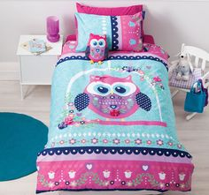Pretty Owl Applique Reverse Quilt Duvet Cover Set - 162802 For Sale, Buy from Kids Quilt Cover Sets collection at MyDeal for best discounts. Owl Bedding, Cotton Bedding, Linen Bedding, Bed Linens, Comforter, Ikea, Pottery Barn, Owl Bedrooms, Bedroom Sets