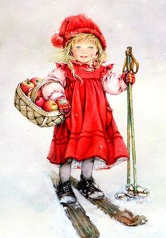 Art - little girl in smock dress on skis with poles carrying basket with apples, wearing stocking cap and gloves.