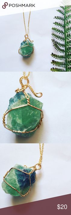 ❗️one left❗️Fall 14k Gold Gemstone Necklace Genuine green amethyst hand wrapped in 14k gold plated wire. Gorgeous color and detail on this piece. Chain is approx 20inches. Due to natural occurrence shape and coloring of gemstone may vary. 5 star rated! Pineapple.PalmBeach Jewelry Necklaces