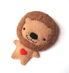 Animal Felt Brooch Lion Red Heart African Safari Boy by mikaart, $16.99