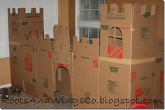 DIY castle decor from cardboard boxes Cardboard Box Castle, Cardboard Boxes, Castle Playhouse, Knight Party, Château Fort, Cardboard Crafts, Cardboard Play, Vacation Bible School, Moving Day
