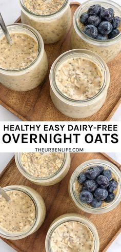 Egg Free Recipes, No Dairy Recipes, Oats Recipes, Vegan Recipes, Drink Recipes, Delicious Recipes, Dairy Free Overnight Oats, Overnight Oats In A Jar, Oat Slice
