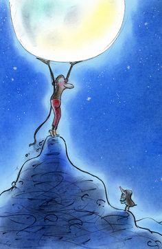 inside illustration: Aap & Mol in de bergen/Monkey & Mole in the mountains