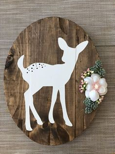 Fawn Rustic Sign with succulents and white flower, woodland nursery, girl nursery