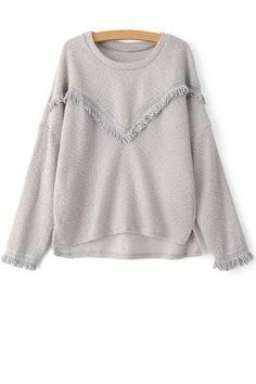 V Shape Tassels Spliced Round Collar Sweater