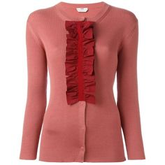 Fendi ruffled placket cardigan ($1,160) ❤ liked on Polyvore featuring tops, cardigans, j.crew cardigan, crew neck cardigan, crewneck cardigan, red ruffle top and long sleeve tops