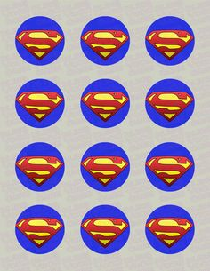 Superman Logo Edible Icing Cupcake or Cookie Decor Toppers - SPM1