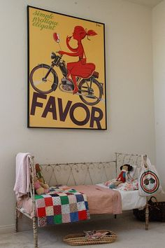love the vintage feel to this room, especially the poster