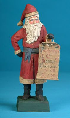 Santa folk art carving, hand carved Santas, carved Santas