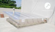 Instalación de techo para claraboya con policarbonato. Roof Terrace Design, Wooden Patios, Garden Doors, Roof Light, Luz Natural, Glass Roof, Patio Roof, Pergola Plans, Creative Home