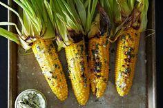 Kebabs, Side Dish Recipes, Veggie Recipes, Corn Recipes, Basil Recipes, Basil Butter Recipe, Vegan Butter, Bon Appetit, Vegetarian