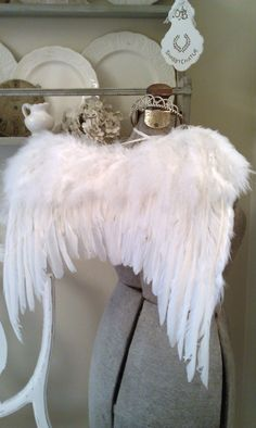 Small Fluffy Romantic Angel Wings~New! Grace the back of your chairs for the Holidays with these dreamy and romantic wings from real feathers!