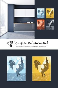 The dark blue feature wall shows a Quartet of rooster kitchen art in a light-blue, yellow, orange, and dark-blue. The blue kitchen walls frame white and grey kitchen cabinets. #roosterwalldecor #bluekitchen #kitchenwalldecor #walldecorideas #KBMD3signs