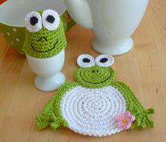 Crochet Frog Set - Frog Coaster