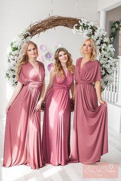 Bridesmaid Dress // Infinity Dress // Convertible Dress // Wrap Dress // Prom Dress // Multiway Dress // Party Dress //Ship from New York Beach Wedding Bridesmaid Dresses, Dusty Rose Bridesmaid Dresses, Infinity Dress Bridesmaid, Dusty Rose Dress, Wedding Gowns, Infinity Dress Ways To Wear, Vestido Convertible, Multi Way Dress, Maid Of Honor
