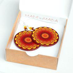 Fall Fashion Rosette Mandala - Yellow Brown Orange - decoupage earrings - double faced