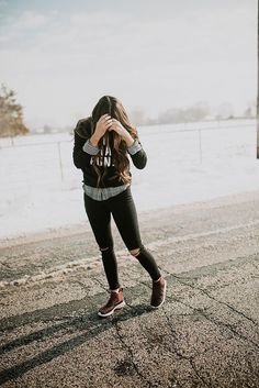 I love this look! The flannel layered under the sweatshirt with black jeans and booties!