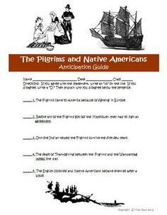 FREE Thanksgiving Anticipation Guide Pilgrims Native Americans
