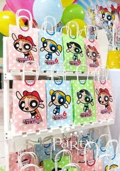 Fun favor bags at a Powerpuff Girls birthday party! See more party planning ideas at CatchMyParty.com!