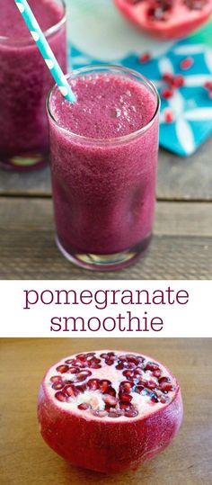 This easy, 4-ingredient pomegranate smoothie is such a delicious snack! Try this healthy recipe for a quick burst of flavor and nutrition. Recipe from realfoodrealdeals.com