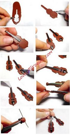 "МК лепка ""Скрипка"" -Gumpaste (fondant, polymer clay) violin step by step - Мастер-классы по украшению тортов Cake Decorating Tutorials (How To's) Tortas Paso a Paso"
