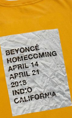 afcf4a153a This Beyoncé #Homecoming Tee is available now via shop.beyonce.com. #