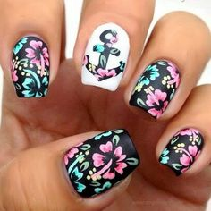 Cute Anchor Flowers Short Nail Designs