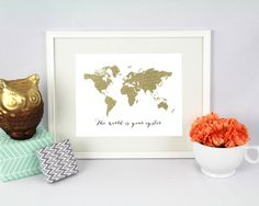 Printable World Map Gold Canvas The World Is by IselleWeddings