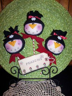 Primitive Whimsical Country Winter PENGUINS