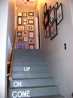 The Sunset Lane: Children's Art Gallery Wall up the Staircase