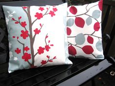 Blooma - Red & Duck Egg Blue- a 16inch cushion cover , pillow sham, pillow slip. $14.00, via Etsy.  Love this color combination
