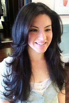 Hairstyles for long dark hair - Frisuren Stil Long Hair Cuts, Long Hair Styles, Thin Hair, Straight Hair, Short Cuts, Long Hair Short Layers, Black Hair Layers, Razor Cut Hair, Curly Layers