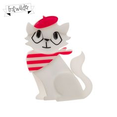 "Farrah the French Kitty Resin Broch - ""Hurrah for the pretty French Kitty Farrah!"""