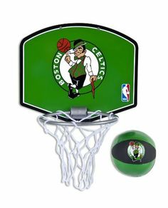 """Spalding NBA Boston Celtics Mini Hoop Set by Huffy. $16.50. NBA Mini Hoop Set. Plastic Board. Includes 4"""" Plush Basketball. Door Mount. Product Description                A Division of Russell Brands, LLC, Spalding is the largest basketball equipment supplier in the world, and America's first baseball company. Spalding is the official basketball of the National Basketball Association (NBA) and Women's National Basketball Association (WNBA), the official backboar..."""