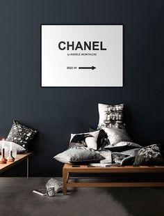 art print poster CHANEL avenue montaigne Prada by AmberandJones