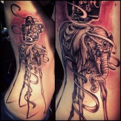Finally did it! Salvador Dali inspired tribute tattoo for my dad. By: Kyle Wood