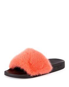 8cf170919f95 Givenchy Mink-Fur Flat Slide Sandal