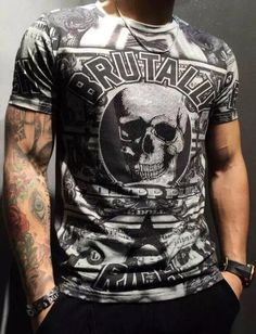 Find More T-Shirts Information about new summer 2016 German PP popular brand three dimensional hot drilling skull men short sleeve T shirt leisure men's clothing,High Quality t-shirt compress,China clothing rugby Suppliers, Cheap clothing wear from UNO Boutique : Brand Men's wear & fashion sunglasses on Aliexpress.com