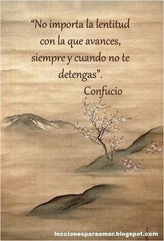 """""""No importa la lentitud con la que avances, siempre y cuando no te detengas"""". #frases"""