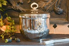 Silver Plate Ice Bucket  Ice Bucket with Lid and by PearlsParlor
