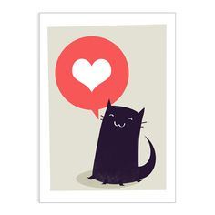 Cat with heart greeting card - Folksy