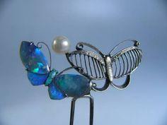 【江月】アンティーク・彫金オパールと真珠飾り蝶ちょのかんざし_画像1