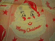 Vintage-Santa-Face-Christmas-Wrapping-Paper-Used-Riley-Shoe-Store-West-Plains-MO
