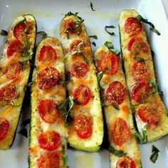 Zucchini with mozzarella and tomatoes